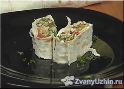 Роллы из лаваша с овощами и сливочным сыром