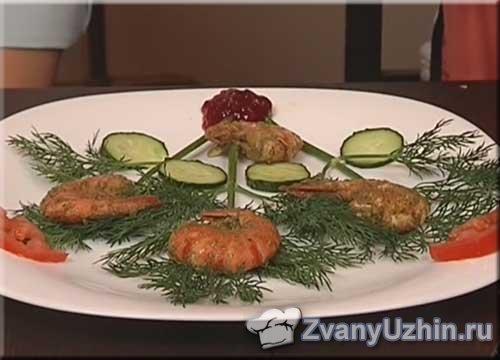 Креветки в соусе Песто (Зелёный)